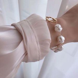 Imitation Freshwater Pearl Oval Gold Bracelet